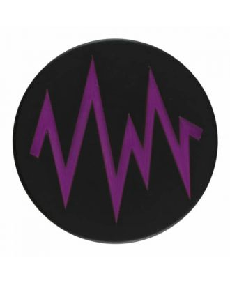 2-layer polyester black button with colored zig zag design and shank - Size: 23mm - Color: purple - Art.No. 374815
