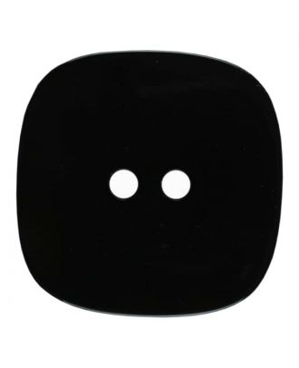 square transparent polyester button with glitter and 2 holes - Size: 25mm - Color: black - Art.No. 380375