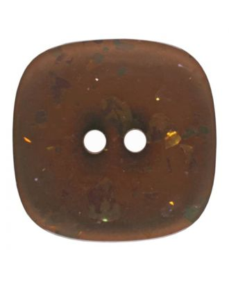 square transparent polyester button with glitter and 2 holes - Size: 20mm - Color: brown - Art.No. 344812