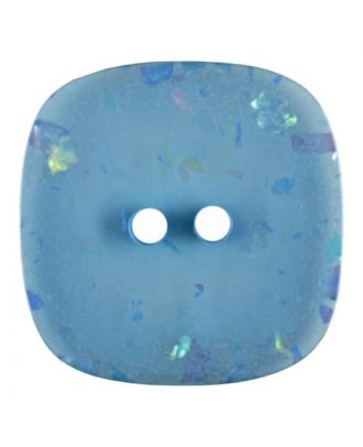 square transparent polyester button with glitter and 2 holes - Size: 25mm - Color: blue - Art.No. 384801