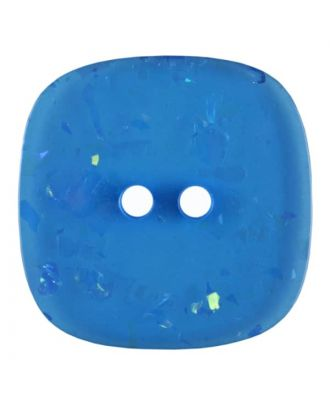 square transparent polyester button with glitter and 2 holes - Size: 25mm - Color: blue - Art.No. 384802