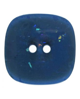 square transparent polyester button with glitter and 2 holes - Size: 20mm - Color: blue - Art.No. 344815