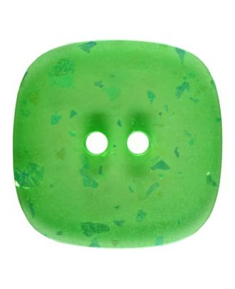 square transparent polyester button with glitter and 2 holes - Size: 25mm - Color: green - Art.No. 384804