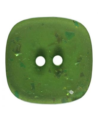 square transparent polyester button with glitter and 2 holes - Size: 30mm - Color: green - Art.No. 404805