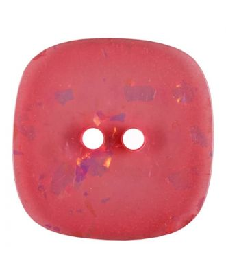 square transparent polyester button with glitter and 2 holes - Size: 25mm - Color: pink - Art.No. 384806
