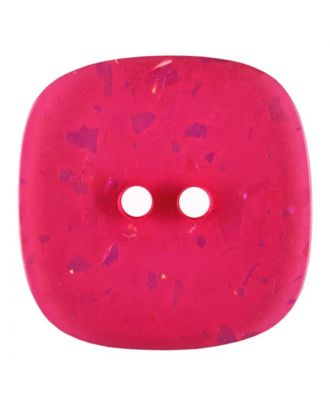 square transparent polyester button with glitter and 2 holes - Size: 25mm - Color: pink - Art.No. 384807