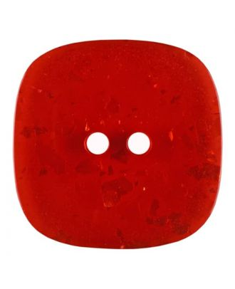 square transparent polyester button with glitter and 2 holes - Size: 30mm - Color: red - Art.No. 404809