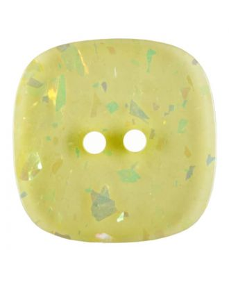 square transparent polyester button with glitter and 2 holes - Size: 20mm - Color: yellow - Art.No. 344822