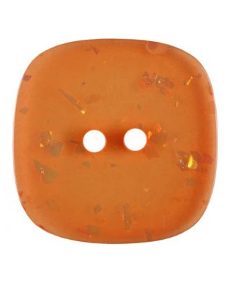 square transparent polyester button with glitter and 2 holes - Size: 25mm - Color: orange - Art.No. 384811