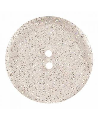 round  polyester button with glitter and 2 holes - Size: 28mm - Color: transparent - Art.No. 400281