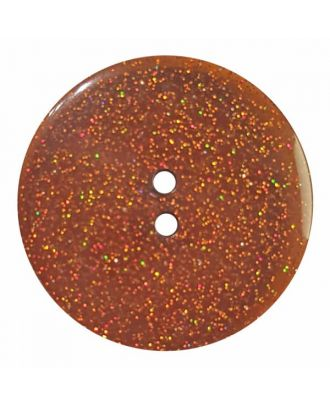 round  polyester button with glitter and 2 holes - Size: 23mm - Color: brown - No.384825 - Art.No. 384825