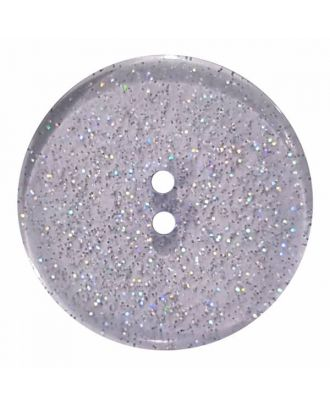 round  polyester button with glitter and 2 holes - Size: 18mm - Color: blue - Art.No. 344879