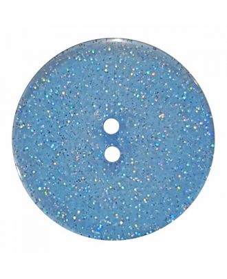 round  polyester button with glitter and 2 holes - Size: 18mm - Color: blue - Art.No. 344880