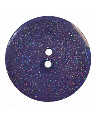 round  polyester button with glitter and 2 holes - Size: 28mm - Color: blue - Art.No. 404827