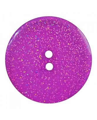 round  polyester button with glitter and 2 holes - Size: 28mm - Color: purple - Art.No. 404828