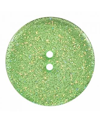 round  polyester button with glitter and 2 holes - Size: 23mm - Color: green - Art.No. 384830