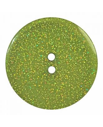 round  polyester button with glitter and 2 holes - Size: 28mm - Color: green - Art.No. 404830