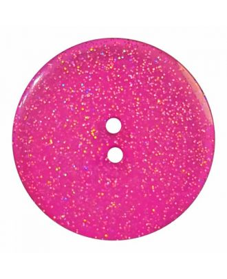 round  polyester button with glitter and 2 holes - Size: 28mm - Color: pink - Art.No. 404831