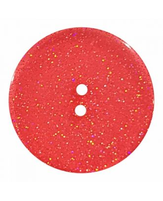 round  polyester button with glitter and 2 holes - Size: 23mm - Color: red - Art.No. 384833