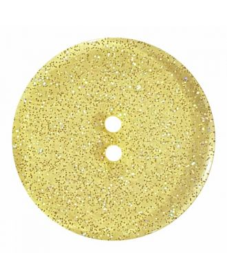 round  polyester button with glitter and 2 holes - Size: 23mm - Color: yellow - Art.No. 384834