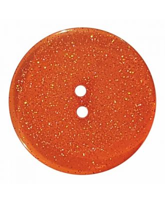 round  polyester button with glitter and 2 holes - Size: 28mm - Color: orange - Art.No. 404834