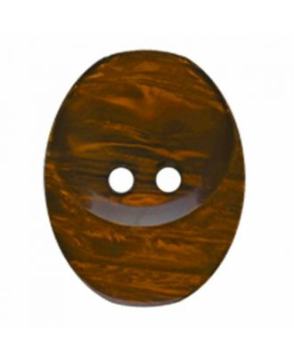 polyester button oval with two holes - Size: 20mm - Color: brown - Art.No. 335815