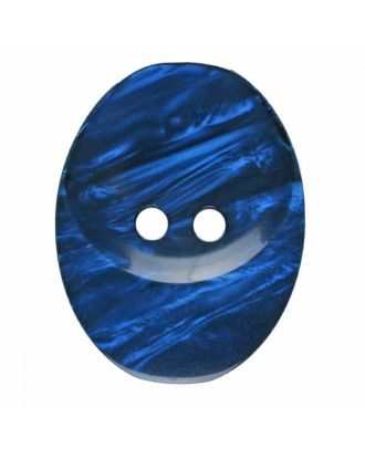 polyester button oval with two holes - Size: 25mm - Color: blue - Art.No. 375818