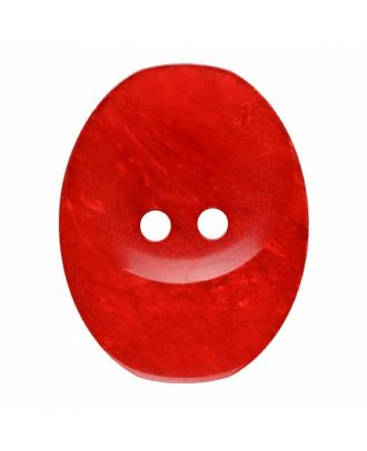 polyester button oval with two holes - Size: 30mm - Color: red - Art.No. 385834