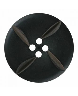 polyester button round with four holes - Size: 28mm - Color: black - Art.No. 380395