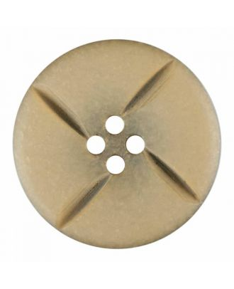 polyester button round with four holes - Size: 28mm - Color: beige - Art.No. 385813