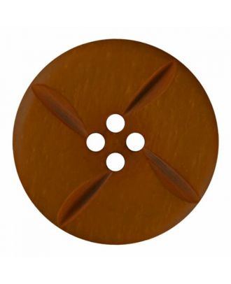 polyester button round with four holes - Size: 28mm - Color: brown - Art.No. 385814
