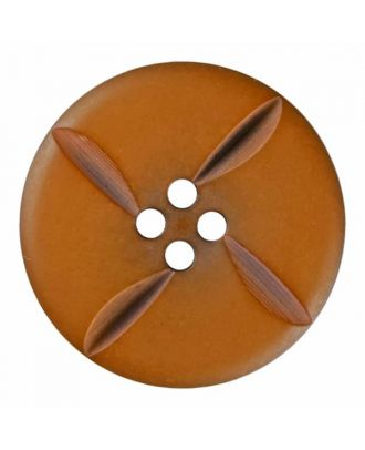 polyester button round with four holes - Size: 28mm - Color: brown - Art.No. 385815