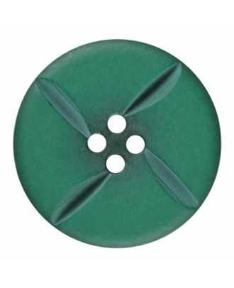 polyester button round with four holes - Size: 28mm - Color: green - Art.No. 385820