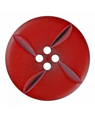 polyester button round with four holes - Size: 28mm - Color: red - Art.No. 385823