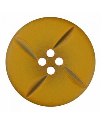 polyester button round with four holes - Size: 18mm - Color: yellow - Art.No. 315824
