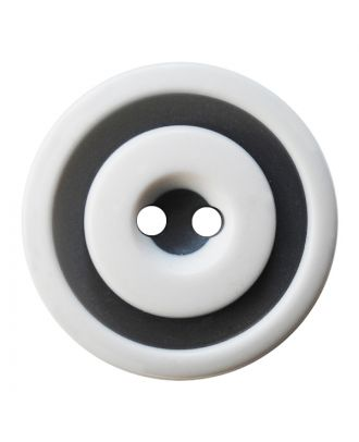 polyester button round shape with matt, two-tone surface and 2 holes - Size: 25mm - Color: weiß - Art.No.: 370921