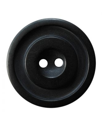 polyester button round shape with matt, two-tone surface and 2 holes - Size: 30mm - Color: schwarz - Art.No.: 380420