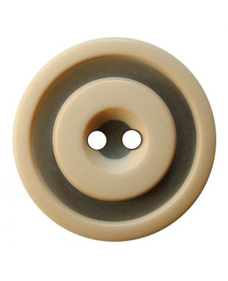 polyester button round shape with matt, two-tone surface and 2 holes - Size: 25mm - Color: beige - Art.No.: 377800