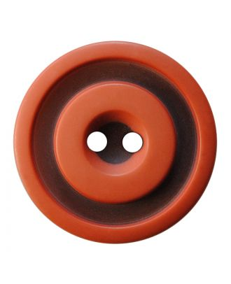 polyester button round shape with matt, two-tone surface and 2 holes - Size: 30mm - Color: terrakotta - Art.No.: 387825