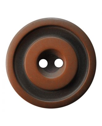 polyester button round shape with matt, two-tone surface and 2 holes - Size: 25mm - Color: braun - Art.No.: 377802