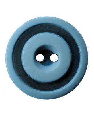 polyester button round shape with matt, two-tone surface and 2 holes - Size: 25mm - Color: hellblau - Art.No.: 377803