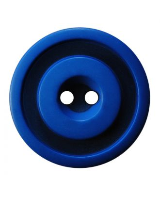 polyester button round shape with matt, two-tone surface and 2 holes - Size: 25mm - Color: blau - Art.No.: 377804