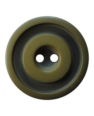 polyester button round shape with matt, two-tone surface and 2 holes - Size: 25mm - Color: khaki - Art.No.: 377808