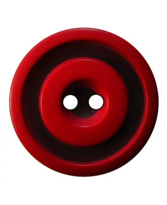 polyester button round shape with matt, two-tone surface and 2 holes - Size: 25mm - Color: rot - Art.No.: 377810