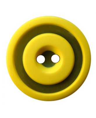 polyester button round shape with matt, two-tone surface and 2 holes - Size: 25mm - Color: gelb - Art.No.: 377811