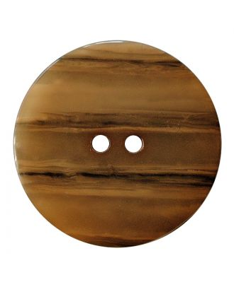 polyester button round shape with shiny surface, structure and 2 holes - Size: 28mm - Color: hellbraun - Art.No.: 387837
