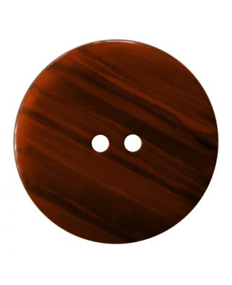 polyester button round shape with shiny surface, structure and 2 holes - Size: 28mm - Color: braun - Art.No.: 387838