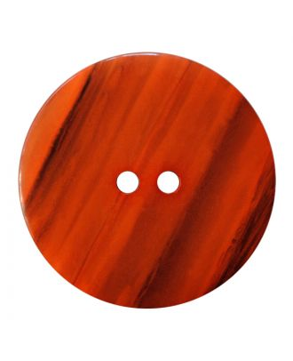 polyester button round shape with shiny surface, structure and 2 holes - Size: 23mm - Color: orange - Art.No.: 347835