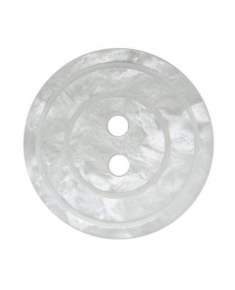 polyester button round shape with shiny surface, pearl effect and 2 holes - Size: 15mm - Color: weiß - Art.No.: 281218