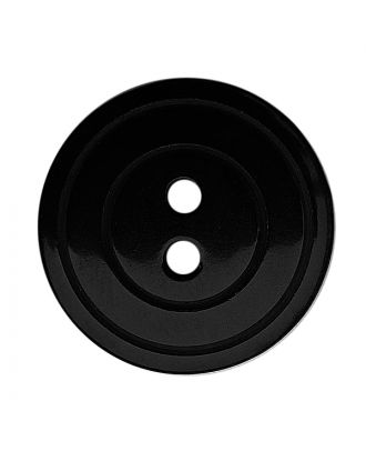 polyester button round shape with shiny surface, pearl effect and 2 holes - Size: 15mm - Color: schwarz - Art.No.: 281219